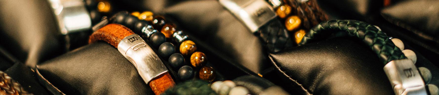 A selection of bracelets for men.